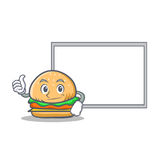 Okay burger character fast food with board. Vector illustration Royalty Free Stock Photos