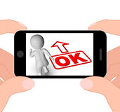 Okay And 3D Character Displays O.K. Ok All Right Agree Royalty Free Stock Photo