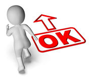Okay And 3D Character Shows O.K. Ok All Right Royalty Free Stock Image