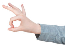 Okay finger sign - hand gesture Stock Photos