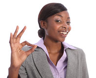 Okay hand sign by happy african american woman Royalty Free Stock Image