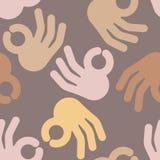 Okay hand sign seamless pattern. Positive consent symbol   Stock Photo