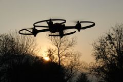 Drone Silhouette at the Park royalty free stock images