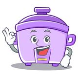 Okay rice cooker character cartoon Royalty Free Stock Image