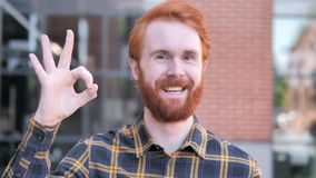 Okay by Satisfied Redhead Beard Young Man, Outdoor. 4k high quality, 4k high quality stock video footage