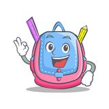 Okay school bag character cartoon. Vector illustration Stock Images