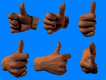 Okay sign. Rendering of right hand giving thumbs up sign from different angles stock image