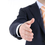 Okay sign. Man in suit is showing the thumb up sign against white bakcground Royalty Free Stock Images