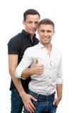 okay Två sexiga grabbar Förälskelse och förhållanden Vit bakgrund Arkivfoto