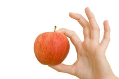 Okay-Zeichen mit Apfel Stockbilder
