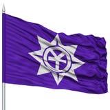 Okayama Capital City Flag on Flagpole, Flying in the Wind, Isolated on White Background Stock Photo