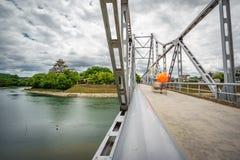 Okayama Castle, Crow Castle and iron bridge, Okayama Stock Photography