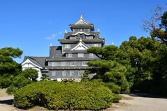Okayama Castle. a Symbol of Okayama City. Okayama Castle, destroyed in WWII, was reconstructed in 1966. It is also known as the Crow Castle because of its royalty free stock image