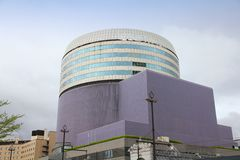 Okayama, Japan. APRIL 22, 2012: Okayama Symphony Hall building in Japan. The public building was completed in 1991 in cooperation with famous Nagata Acoustics Stock Photos