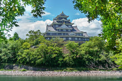Okayama-Schloss hinter Bäumen, Japan Lizenzfreie Stockbilder