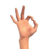 OKAYhandzeichen, das drei Finger, menschliches Glied lokalisiert auf Weiß zeigt Stockfotografie