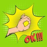 OKAYhandzeichen, Vereinbarung bedeutend Nachgemachte Retro- Illustrationen Weinlesebild mit Halbtonen stock abbildung