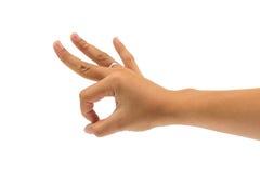 Okayvereinbarungsgestenform-Handfrau Lizenzfreie Stockbilder