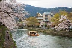 Okazaki canal with sakura tree Stock Image