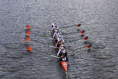 OKC Riversport在查尔斯赛船会头赛跑  免版税库存照片