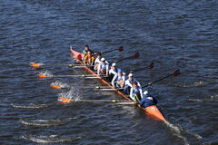 OKC Riversport Crew races in the Head of Charles Regatta Men`s Youth EightWayland-Weston Royalty Free Stock Images