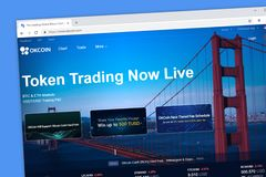 OKCOIN cryptocurrency token trading and exchange platform stock photo