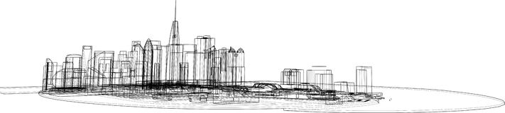 Okcydentalny współczesny Płaski miasto krajobraz ilustracji