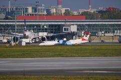 Okecie机场看法在华沙 免版税库存照片