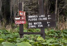 Okefenokee Swamp directional signs stock photos