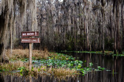 Okefenokee Swamp Sign. Dircational sign on canoe trail in Okefenokee Swamp Georgia Stock Photography
