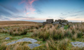 Okehampton Camp on dartmoor. Weathered granite rock formations near Okehampton Camp on Dartmoor National Park in devon stock image
