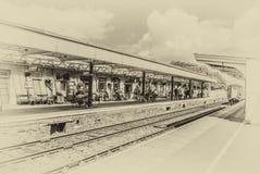 Okehampton rail platform, vintage effect Stock Image