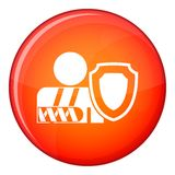 Oken arm and safety shield icon, flat style Royalty Free Stock Photography