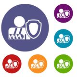 Oken arm and safety shield icons set Stock Photography