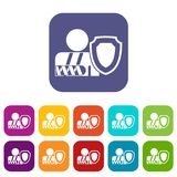 Oken arm and safety shield icons set. Broken arm and safety shield icons set vector illustration in flat style in colors red, blue, green, and other vector illustration