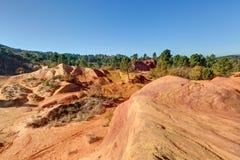 Okers van Colorado Provencal - Rustrel - de Provence - Frankrijk stock afbeelding