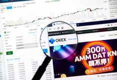 OKEX cryptocurrency交换 图库摄影