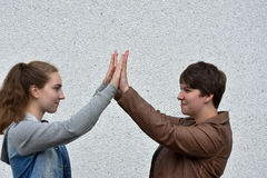 Okey dokey. Gesture,  ritual for greeting of two girlfriends Stock Photography
