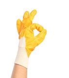Okey sign with orange rubber glove. Stock Photography