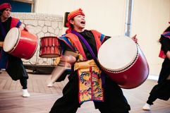 Okinawa Eisa drum dance with active motion gesture stock photos
