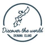 Okinawa Island Map Outline L'annata scopre Fotografie Stock Libere da Diritti