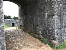 Arched gate of Zakimi Castle Ruins in Okinawa, Japan.