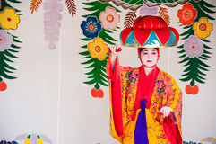 Okinawa, Japan - March 10, 2013 : Unidentified female dancer per. Forming Okinawa traditional dance at Shuri Castle stock photos