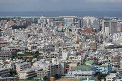 OKINAWA, JAPAN - October 20 , 2017: Okinawa skyline view from sh royalty free stock photo
