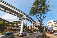 Okinawa Monorail. Okinawa, Japan - March 30. 2015: Elevated tracks of the `Yui Rail` or Okinawa Urban Monorail in Naha, Japan Stock Image