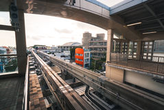 Okinawa monorail. Okinawa, Japan - March 30, 2015: View of the monorail tracks disappearing round the bend at `Shuri` station in Okinawa Royalty Free Stock Images