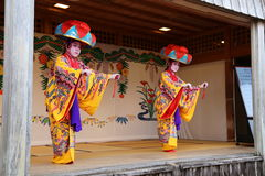 OKINAWA - 8 OCT: Ryukyu Dance in Shuri Castle in Okinawa, Japan on 8 October 2016. Ryukyu Dance in Shuri Castle in Okinawa, Japan royalty free stock photo