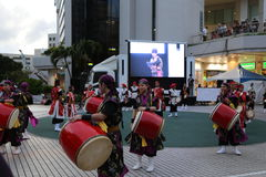 OKINAWA - 8 OCT: Taiko drum in Okinawa, Japan on 8 October 2016 Royalty Free Stock Images