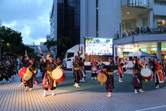 OKINAWA - 8 OCT: Taiko drum in Okinawa, Japan on 8 October 2016 Royalty Free Stock Photography