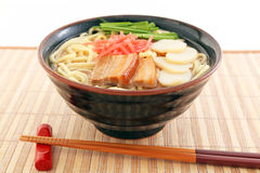 Okinawa soba. At the table Stock Photo